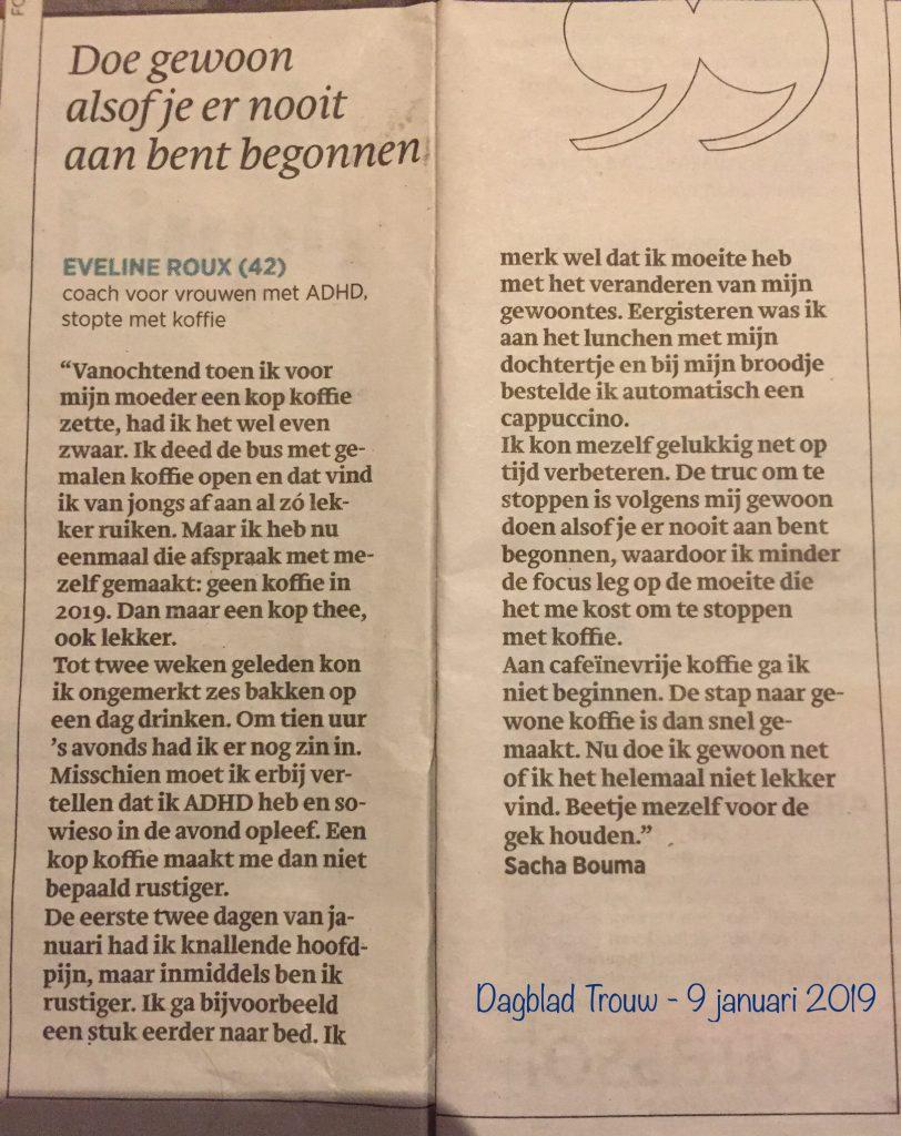 krantenartikel over goede voornemens: Eveline Roux, coach voor vrouwen met ADHD, stopt met koffie.
